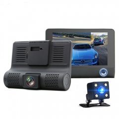 1080P T319 HD Car Camera Recorder Dual Lens Dash Cam with Front Back and Inside Cameras