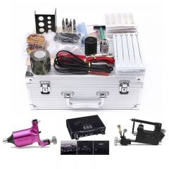 Complete Tattoo Kit Electric Shader Guns Machine Shader Liner Power Supply Needles Grips Tips