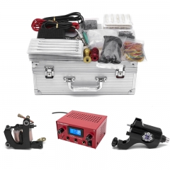 Professional Complete Rotary Tattoo Machine Gun Kit With Needles Grips Tips