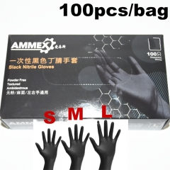 100pcs/box AMMEX S/M/L Disposable Black Gloves Medical Tattoo Cleaning Supplies Tattoo Accessories Nitrile Rubber Glove
